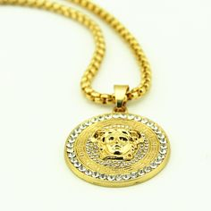 Mens Iced Out Gold Tone Figure Head Pendants Necklace Hip Hop Chain Bling