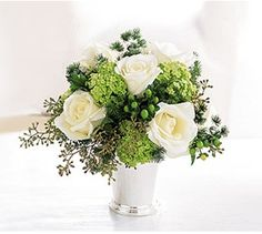 white rose mint julep cup centerpiece