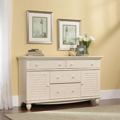 Sauder Harbor View Dresser, Antiqued White Finish...just update the hardware to more detailed black pieces.