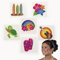 36 Tropical GLITTER Tattoos 3 Dozen Kids Luau Party Favors Surf Hibiscus Aloha