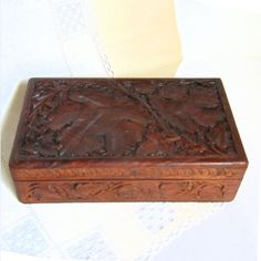 Your place to buy and sell all things handmade Cigar Humidor, Carved Wood, Desk Organization, Wood Boxes, Leaf Design, Trinket Boxes, Jewelry Box, Carving, India