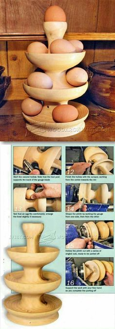 Egg Tower - Woodturning Projects and Techniques - Woodwork, Woodworking, Woodworking Plans, Woodworking Projects Wood Turning Lathe, Wood Turning Projects, Wood Lathe, Diy Wood Projects, Lathe Tools, Woodworking Images, Learn Woodworking, Teds Woodworking, Woodworking Projects
