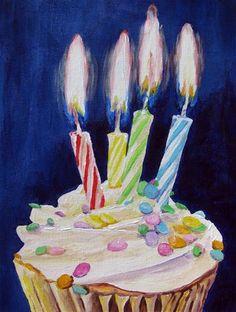 """Cupcake with 4 Candles"" - Original Fine Art for Sale - © Nan Johnson"