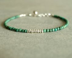 Turquoise Bracelet, sterling, round small turquoise beads, genuine turquoise, natural stones, layering bracelet, minimal turquoise jewelry  https://www.etsy.com/shop/bluegreenjewels