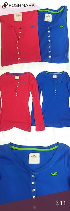 Hollister long sleeve tees S Two Hollister long sleeve tees red and blue size S used good condition Hollister Tops Tees - Long Sleeve