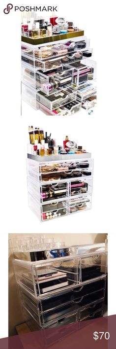 XL Sorbus 7 Drawer Makeup Organizer NEW This xl makeup organizer from Sorbus is a must have for the makeup junkie.  For details, please see last picture.  This item requires extra postage to ship, so this has been figured into the asking price.  ***The photo description above notes the one that was new in box.  This is for the one new but was removed from the box for photographing.  The top organizer (small acrylic) is for display purposes showing how you can continue to stack.  This small…