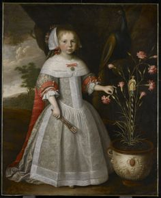 Portrait of a Young Girl with Carnations, c. 1663 Jan Albertsz. Rotius (Dutch) Painting, oil on canvas, 118.1 x 96.5 cm
