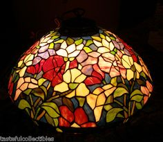 Tiffany Style Stained Glass Hanging Peony Lamp Shade 21 inches Wide New | eBay $75