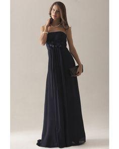 Dark Navy Strapless Chiffon Long Wedding Party / Bridesmaid Dress | LynnBridal.com