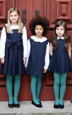 Basic Jumpers | Oscar De La Renta Childrenswear  Love the colors.  Dress/collar/tights/shoes shortest girl far right.