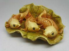 Finely Carved Old Japanese Netsuke – Three Carps Koi on Lotus Leaf