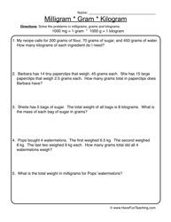 measurement gram kilogram worksheet