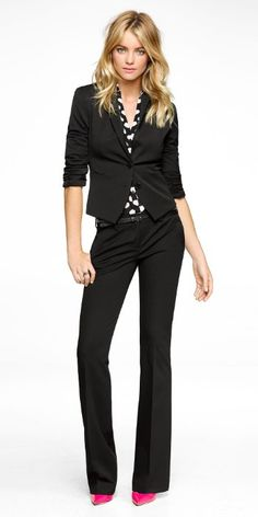 Classic Black Suit and Printed Blouse --- This is an easy go-to in a professional wardrobe. The suit says business, but you can add personality with a cute pattern or bold color in the blouse. Business Dresses, Business Outfits, Business Attire, Business Fashion, Office Fashion, Work Fashion, Professional Wardrobe, Work Looks, Black Suits