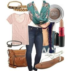 Faded teal floral scarf, blush color t-shirt, and skinny jeans.