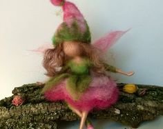 Needle felted fairy Waldorf inspired Wool Fairy in a by DreamsLab3