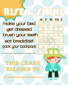 New Morning {Charts} for the kids! I need these in my house! via @sheskindacrafty