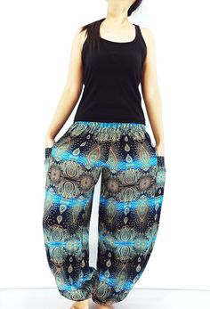 ST80 Thai Women Clothing Comfy Rayon Bohemian Trousers Hippie Baggy Genie Boho Pants Flower Black SkyBlue Maxi Pants, Harem Trousers, Trousers Women, Gypsy Pants, Boho Pants, Bohemian Style, Hippie Boho, Genie Pants, Aladdin Pants
