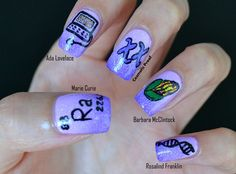 Nail art tribute to Scientista by Jayne of Cosmetic Proof! From thumb to pinky: (1) Marie Curie (2) Ada Lovelace (3) The Scientista Foundation logo :) (4) Barbra McClintock (5) Rosalind Franklin  http://www.cosmeticproof.com/2013/07/scientista-foundation-nail-art-inspired.html