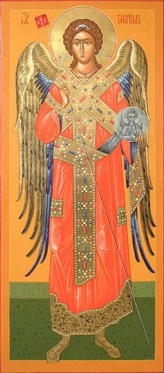 Icon of the Holy Archangel Gabriel(board, levkas, gold, natural pigment) Archangel Raphael, Archangel Gabriel, Religious Icons, Religious Art, Angel 11, Entertaining Angels, Touched By An Angel, Blessed Mother Mary, Doreen Virtue