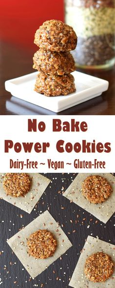 No Bake Power Cookies Recipe - rich in healthy vegan, gluten-free, dairy-free ingredients (freezer-friendly!)(Paleo Vegetarian Healthy No Bake) Vegan Sweets, Vegan Snacks, No Bake Desserts, Healthy Desserts, Dessert Recipes, French Desserts, Dairy Free Recipes, Gourmet Recipes, Baking Recipes