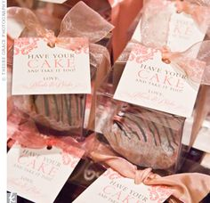 """pretty boxes filled with cupcakes   adorable """"have your cake"""" tags   #wedding #favors  pink   wedding ideas and inspiration"""