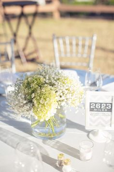 hydrangea & baby's breath centerpiece