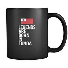 Tonga Legends are born in Tonga 11oz Black Mug