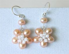 June Birthstone Pearl Flower Earrings Peach by LemonDreamHouse, $45.00
