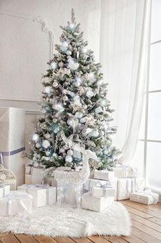 4664 White Christmas Tree Fireplace Indoor Window Interior Backdrop