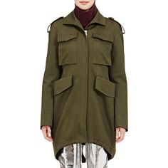 Balenciaga Women's Fishtail-Hem Twill Safari Jacket ($2,050) ❤ liked on Polyvore featuring outerwear, jackets, green, shiny jacket, twill jacket, brown twill jacket, green jacket and button up jacket