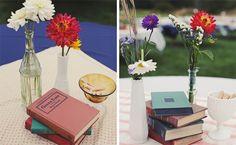 Books + flowers