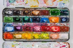 Скачать - План вид коробки акварельные краски — стоковое изображение #11970141