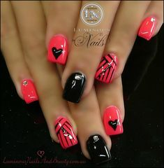 coral & black - high shine with hearts, rhinestone studs and line-stamping