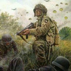 Airborne paratrooper, circa World War 2 Military Art, Military History, World History, World War Ii, Military Drawings, Military Pictures, Paratrooper, American Soldiers, Panzer
