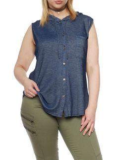 Plus Size Button Up Sleeveless Denim Knit Hooded Top,BLUE DENIM,large