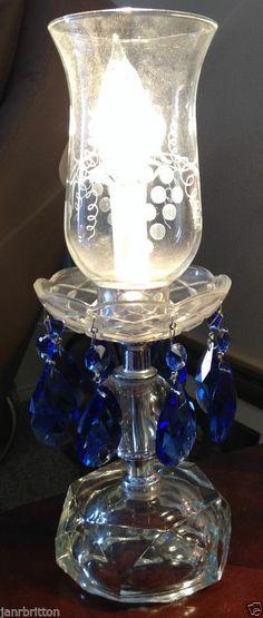 Vintage Crystal Hurricane Lamp Etched Shades Prisms