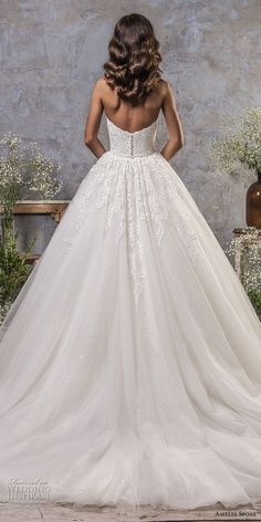 amelia sposa fall 2018 bridal off the shoulder sweetheart neckline heavily embellished bodice romantic princess ball gown a line wedding dress chapel train (1) bv -- Amelia Sposa Fall 2018 Wedding Dresses