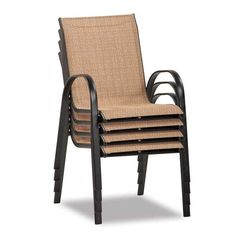 pagosa springs white sling steel stackable patio dining chair
