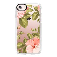 Peach Tropical Flowers - Beach Floral - iPhone 7 Case And Cover ($40) ❤ liked on Polyvore featuring accessories, tech accessories, iphone case, flower iphone case, clear floral iphone case, clear iphone case, iphone cover case and apple iphone case