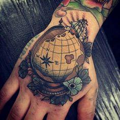 Globe Hand Tattoo