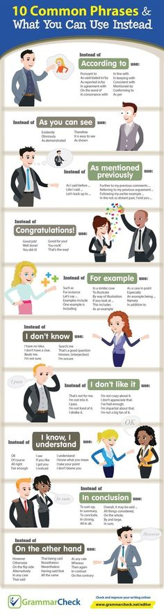 10 Common Phrases & What You Can Use Instead (Infographic) -. - Wortschatz Common Phrases & What You Can Use Instead (Infographic) - English Phrases, English Words, English Grammar, Teaching English, English Language, Gcse English, English Vinglish, Japanese Language, Teaching Spanish