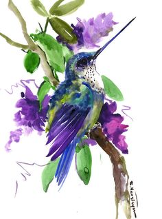 Hummingbird artwork painting flying hummingbird and flowers light violet watercolor painting by suren nersisyan by ORIGINALONLY on Etsy