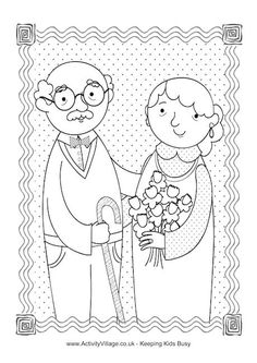 Happy Grandparents Day colouring page
