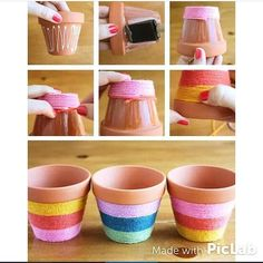 Flower Pots Do It Yourself - yarn wrapped flower pots! Add some bright color to your flower pots with this easy to do fun craft.Do It Yourself - yarn wrapped flower pots! Add some bright color to your flower pots with this easy to do fun craft. Flower Pot Crafts, Clay Pot Crafts, Crafts To Do, Crafts For Kids, Crafts With Yarn, Diy Flower, Home Craft Ideas, Flower Pot Art, Painted Flower Pots