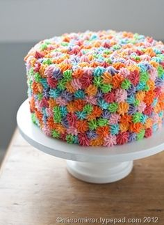 Rainbow Cake frosting with star tip so easy to make too