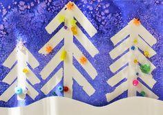 A DINS DE L' AULA: 10 Manualitats d'hivern: Arbres nevats