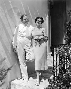 Charles Laughton and wife Elsa Lanchester in the garden of their new Hollywood home