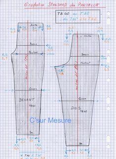 Comment grader le pantalon TB40 à T32 grader aux entres-tailles : TB 40 à T36 T36 à T32