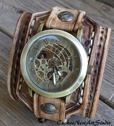 Steampunk Watch Leather Watch Cuff Men's by CuckooNestArtStudio, $139.00