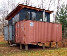 Beautiful Shipping container home on top rugged mix materials for the top